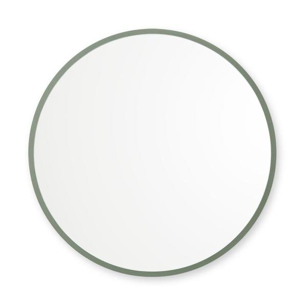 24 in. W x 24 in. H Rubber Framed Round Bathroom Vanity Mirror in Sage Green