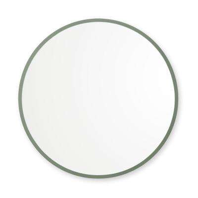 36 in. x 36 in. Rubber Framed Round Single Mirror in Sage Green