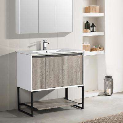 Marseille 36 in. Single, 2 Doors, 1 Drawer, Open Shelf Bathroom Vanity in White with White Countertop with White Basin