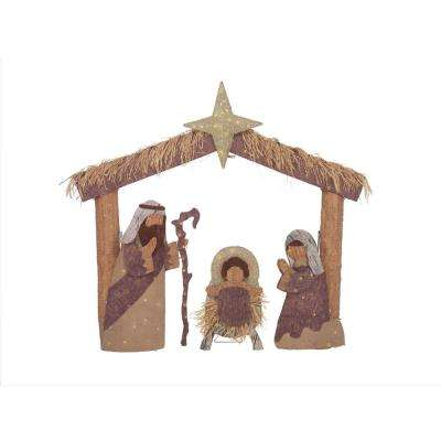 Toasty Tinsel 60 in. Christmas Warm White LED Nativity Scene