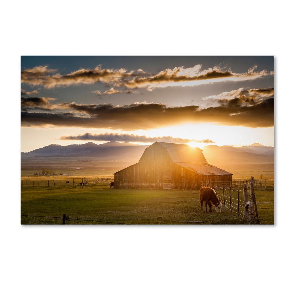 16 in. x 24 in. Wet Mountain Barn I by Dan Ballard Floater Frame Country Wall Art
