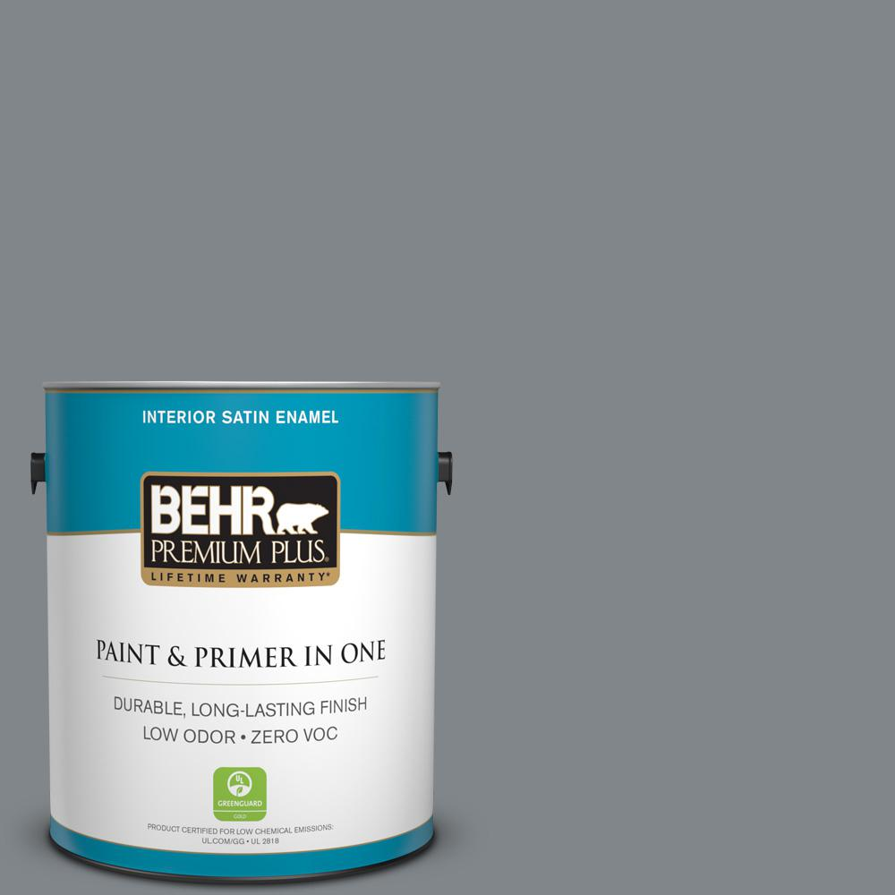 1 gal. #N500-5 Magnetic Gray Satin Enamel Zero VOC Interior Paint