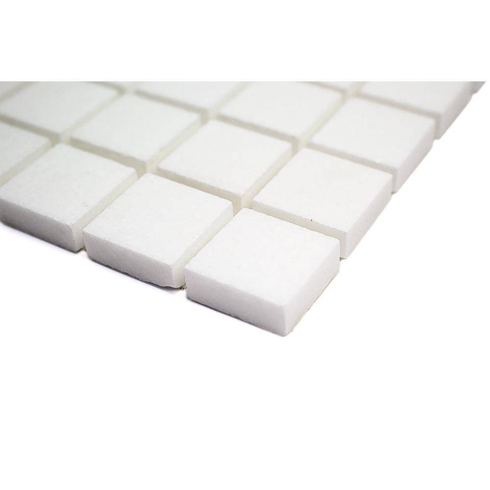 white square tile backsplash