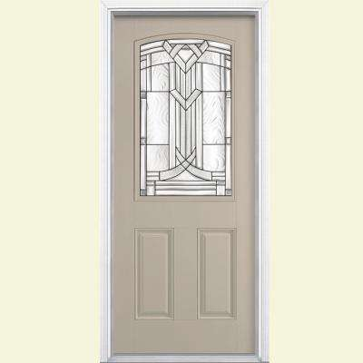 36 in. x 80 in. Chatham Camber Top Half Lite Right-Hand Painted Smooth Fiberglass Prehung Front Door with Brickmold