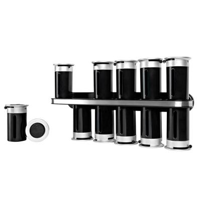 Zero Gravity 12-Canister Wall-Mount Magnetic Spice Rack in Black/Silver