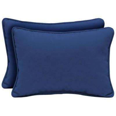 22 x 15 Lapis Canvas Texture Oversized Lumbar Outdoor Throw Pillow (2-Pack)