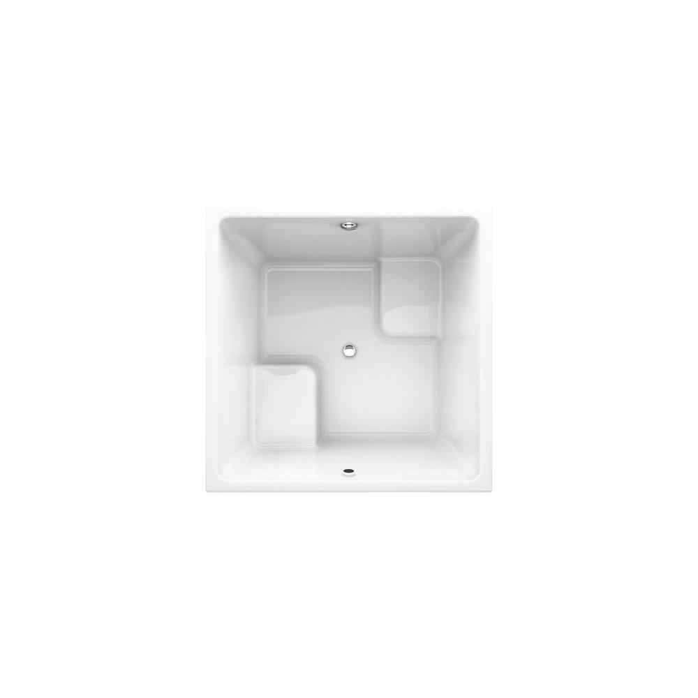 KOHLER UnderScore VibrAcoustic 5 ft. Square VibrAcoustic Center Drain Bathtub in White