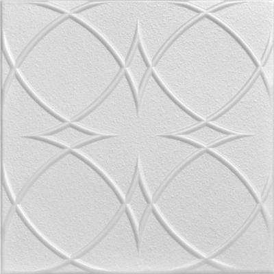 Circles and Stars Art 1.6 ft. x 1.6 ft. Foam Glue-up Ceiling Tile in Plain White (21.6 sq. ft. / case)