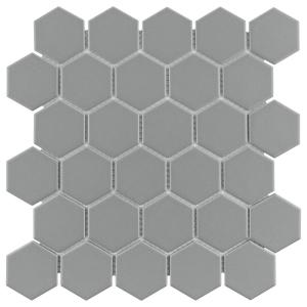 Metro 2 in. Hex 12-5/8 in. x 10-7/8 in. x 6mm Matte Light Grey Porcelain Mosaic Tile (9.74 sq. ft. / case)