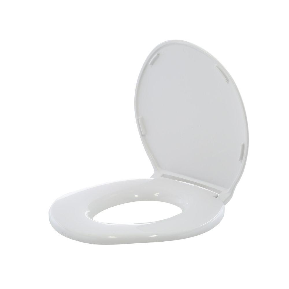 Big John Standard Elongated Closed Front Toilet Seat With Cover In White 6 W The Home Depot
