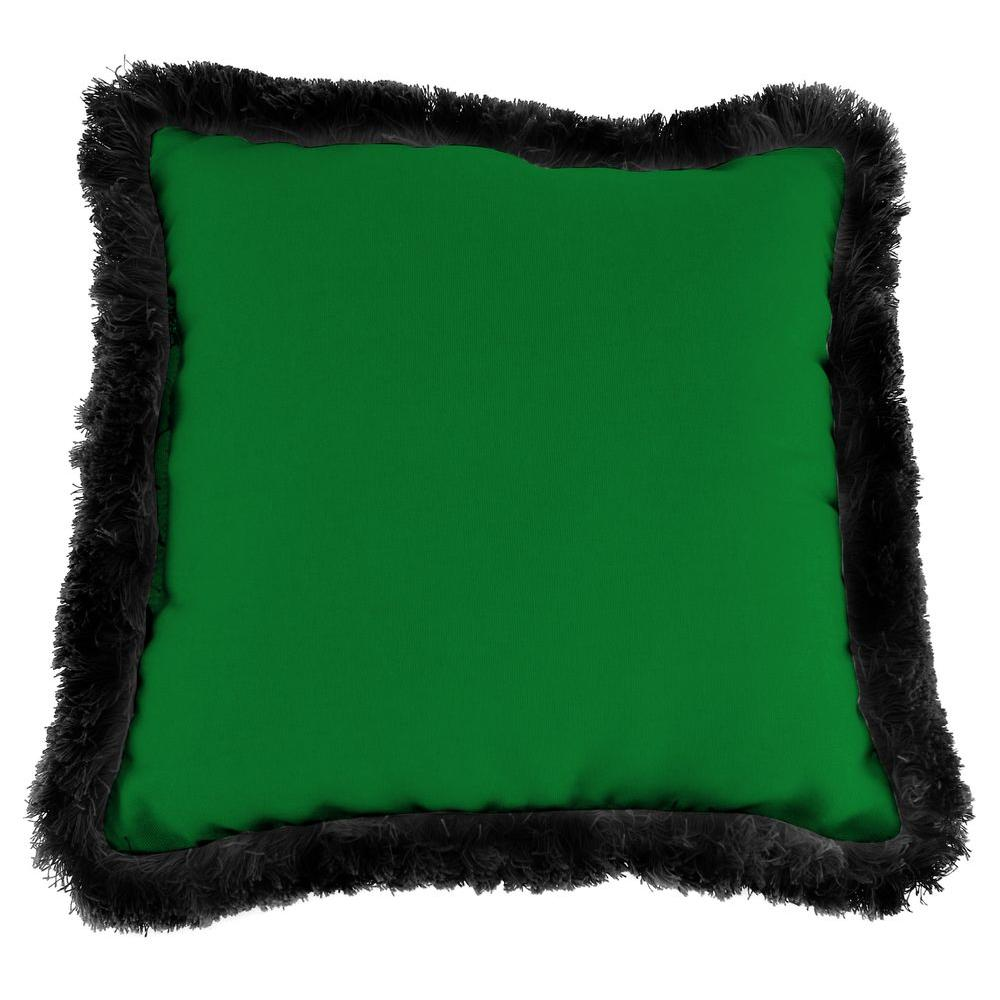 Sunbrella Canvas Forest Green Square Outdoor Throw Pillow with Black Fringe