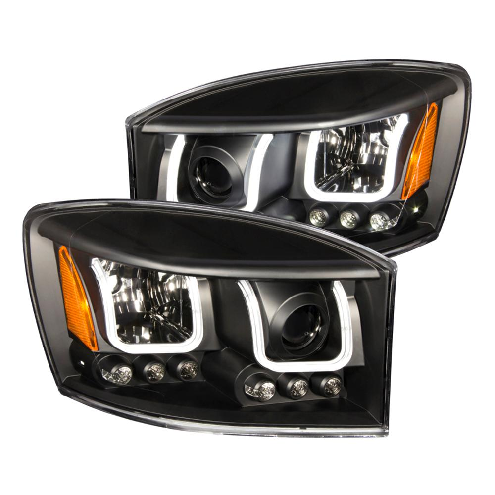 ANZO 2006-2008 Dodge Ram 1500 Projector Headlights w/ U-Bar Black