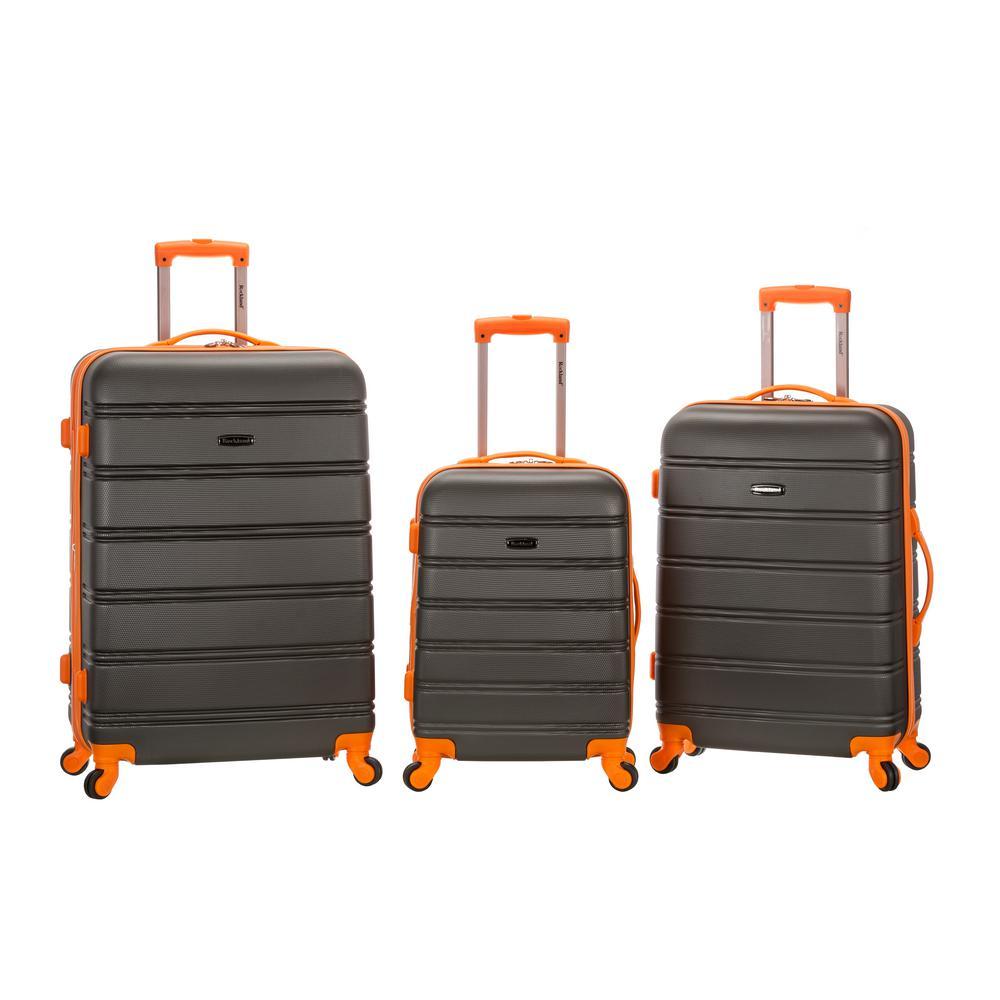 Rockland Melbourne 3-Piece Hardside Spinner Luggage Set, Charcoal