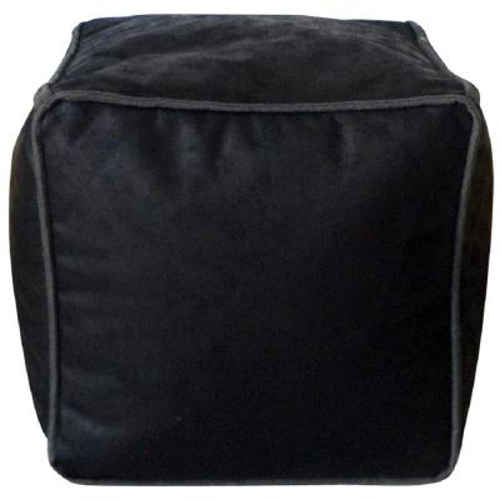 Avery Black Antique Faux Leather Bean Bag Pouf