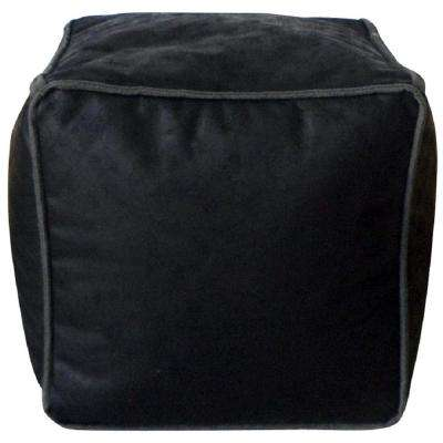 Avery Black Antique Faux Leather Bean Bag Pouf