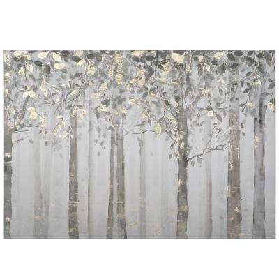 "28 in. x 40 in. ""Grey and Yellow Trees"" Printed Canvas Wall Art"