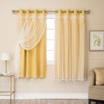 Sunlight 63 in. L Elis Lace Overlay Blackout Curtain Panel (2-Pack)