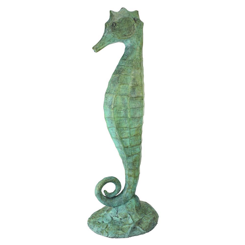 Design Toscano 19 In H Seahorse Bronze, Seahorse Garden Statue