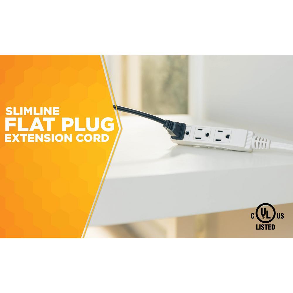 3 Outlets 8-Foot Woods SlimLine 2241 16//3 Flat Plug Indoor Extension Cord UL