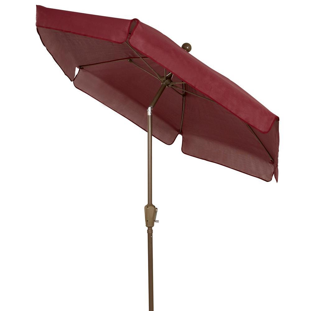 7.5 ft. Champagne Bronze Tilt Garden Market Patio Umbrella in Burgundy