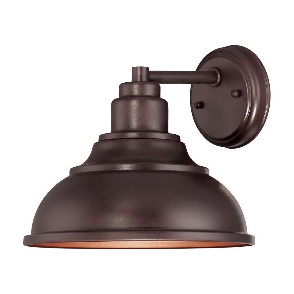 Satin 1-Light English Bronze Outdoor Wall Lantern Sconce