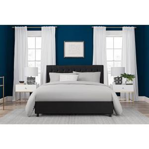 DHP Emily Black Upholstered Faux Leather Full Size Bed Frame 4107029
