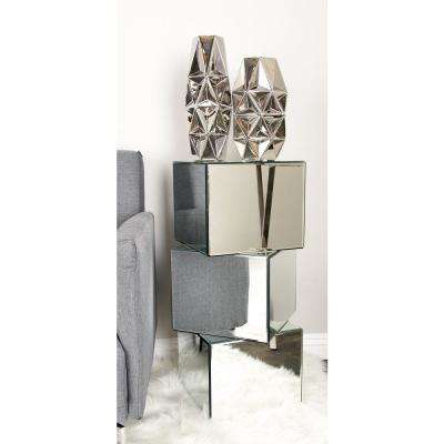 Reflective Silver Stacked Cubes Pedestal