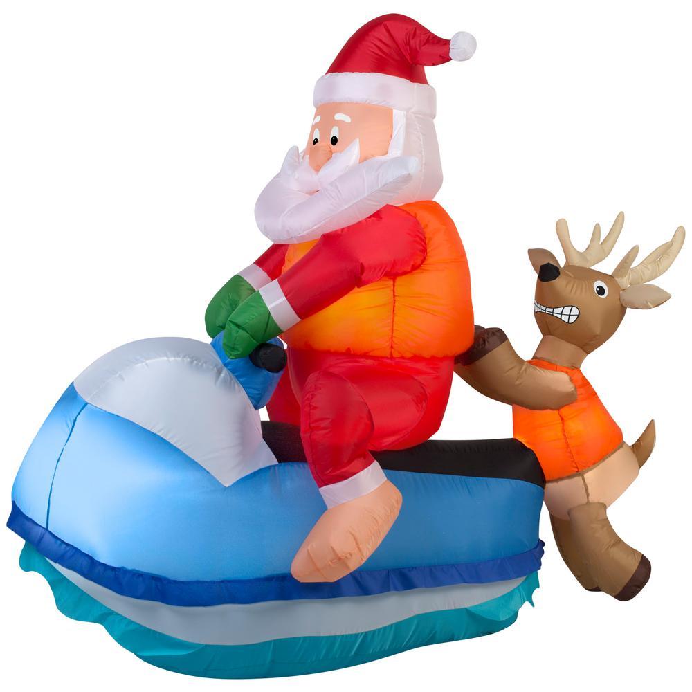 Airblown Santa on Jet Ski Scene Christmas Inflatable