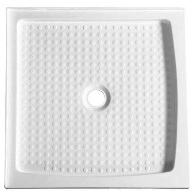 Titan Series 36 in. x 36 in. Double Threshold Shower Base in White