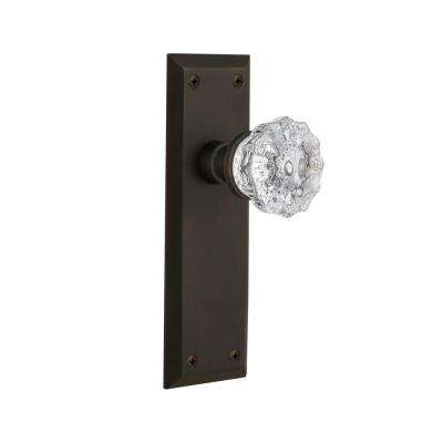 New York Plate 2-3/4 in. Backset Oil-Rubbed Bronze Privacy Bed/Bath Crystal Glass Door Knob