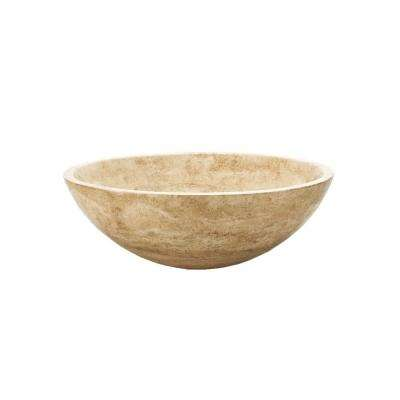 Natural Stone Vessel Sink In Beige Travertine
