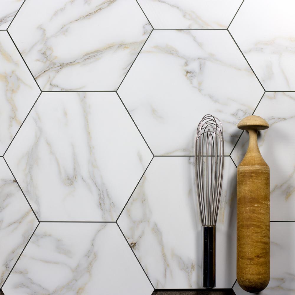 "Hexagon 8"" x 8"" Calacatta Gold Matte Stone Look Glass Peel & Stick Decorative Bathroom Wall Tile Backsplash (1-Piece)"