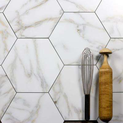 Nature 8 in. x 8 in. Calacatta White Gold Glass Hexagon Decorative Wall Tile Backsplash