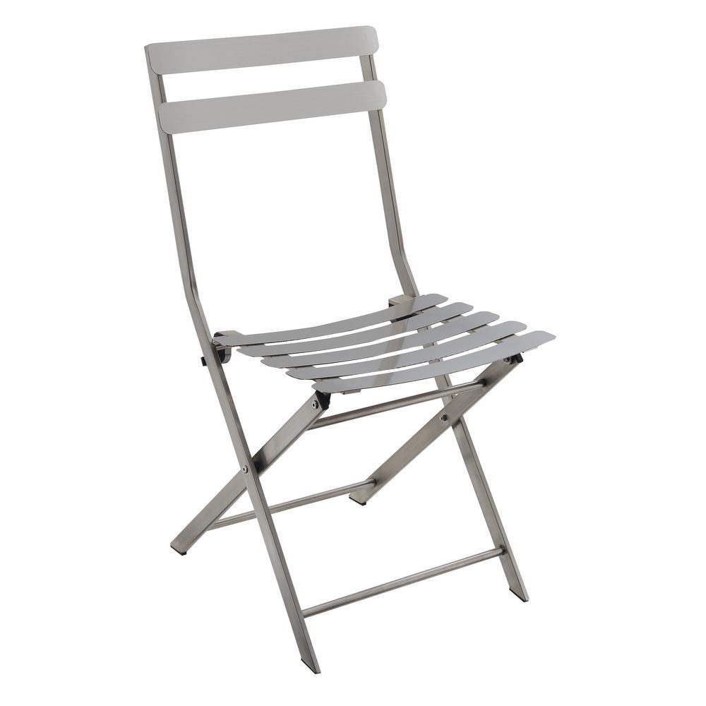 William's Home Furnishing Lilah Gun Metal Staless Foldg Chair