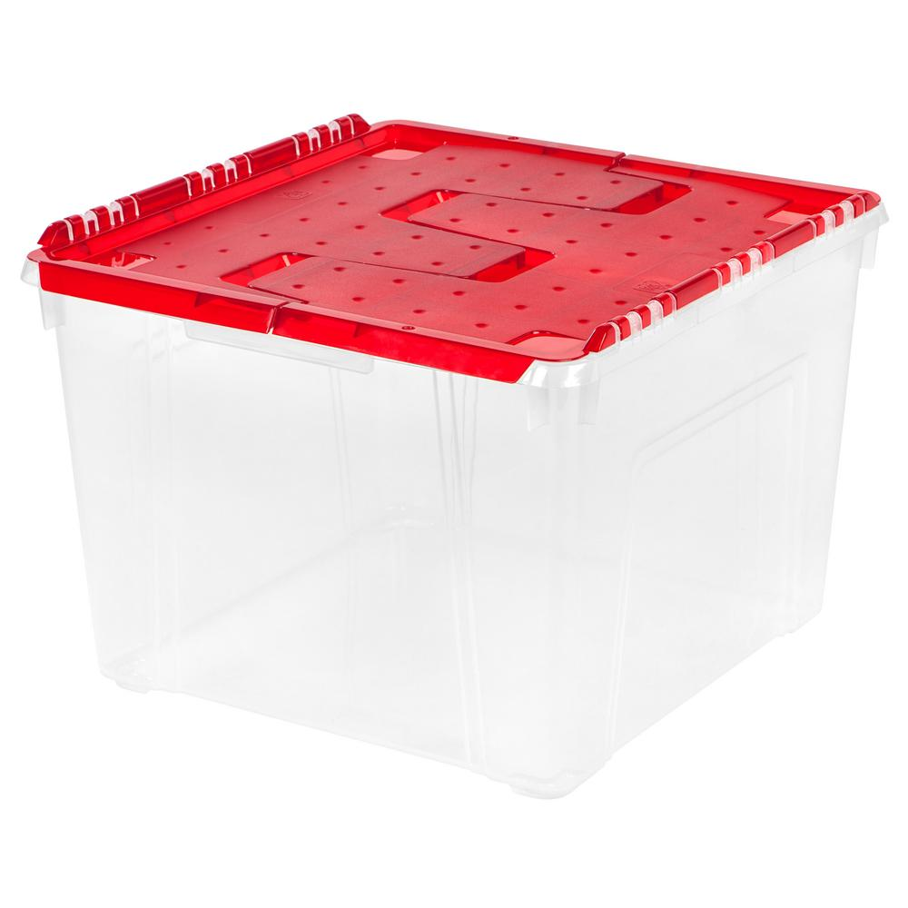 IRIS 60 Qt. Holiday Wing Lid Storage Tote With Ornament Dividers In Red