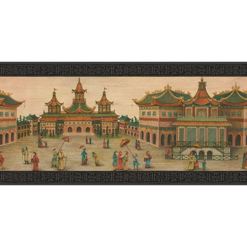 null 10.25 in. x 15 ft. Noir Emperor's Palace Border