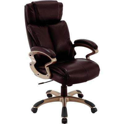 Atlas Brown Executive Office Chair with Upholstered Faux-Leather Seat and Copper-Wheeled Base