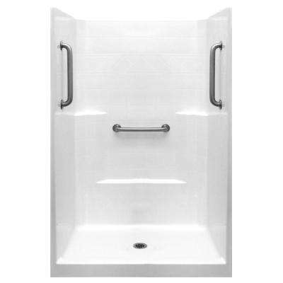 Classic 37 in. x 48 in. x 80 in. 1-Piece Low Threshold Shower Stall in White, Stainless Steel Grab Bars, Center Drain