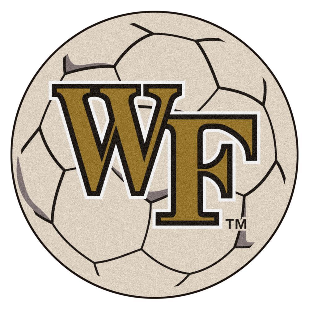 NCAA Wake Forest University Cream 2 ft. x 2 ft. Round Area Rug