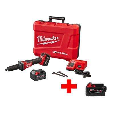 M18 FUEL 18-Volt Lithium-Ion Brushless Cordless 1/4 in. Die Grinder Kit with Free M18 5Ah XC Battery