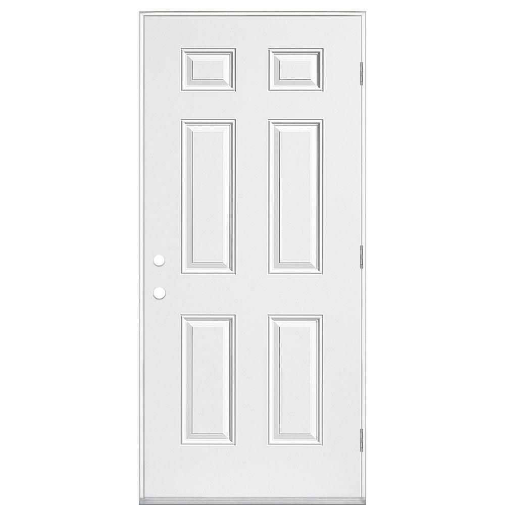Masonite 36 in. x 80 in. 6 Panel Right-Hand Outswing Primed Smooth Impact Fiberglass Prehung Front Door No Brickmold