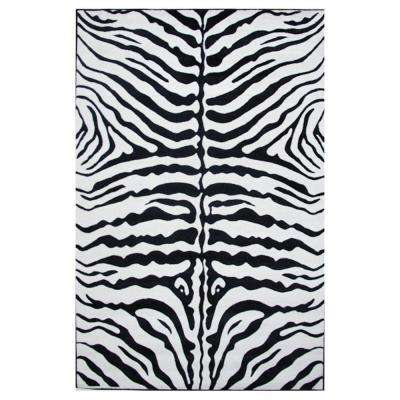 Supreme Zebra Skin Black and White 7 ft. 10 in. x 11 ft. 3 in. Area Rug