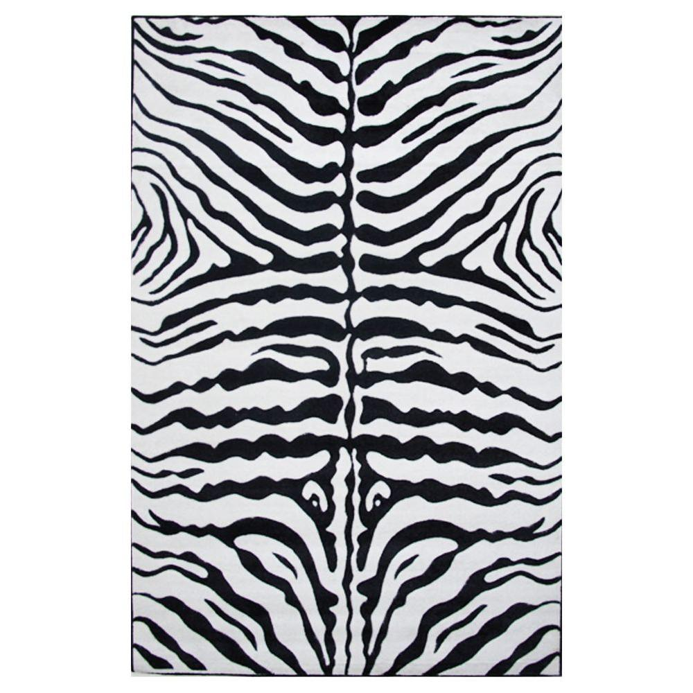 LA RUG Supreme Zebra Skin Black and White 5 ft. x 8 ft. A...
