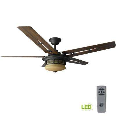 Pendleton 52 in. LED Indoor Oil Rubbed Bronze Ceiling Fan with Light Kit and Remote Control