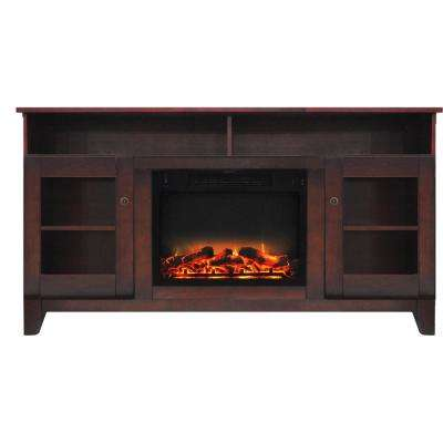 Glenwood 59 in. Electric Fireplace in Mahogany with Entertainment Stand and Enhanced Log Display