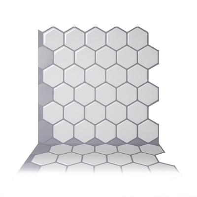 Hexa Mono White 10 in. W x 10 in. H Peel and Stick Self-Adhesive Decorative Mosaic Wall Tile Backsplash (5-Tiles)