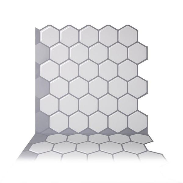 Tic Tac Tiles Hexa Mono White 10 in. W x 10
