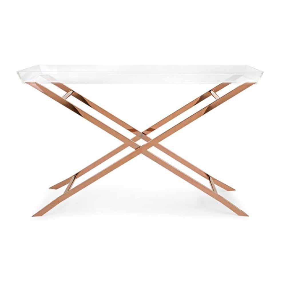 Clinton Acrylic Tray Copper Console Table