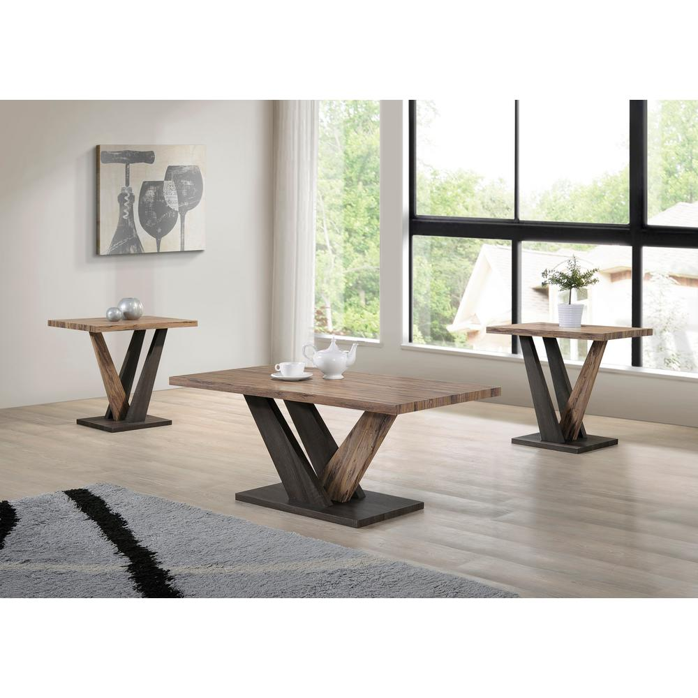 Ottomanson carla dark gray brown oak coffee and end table set of 3