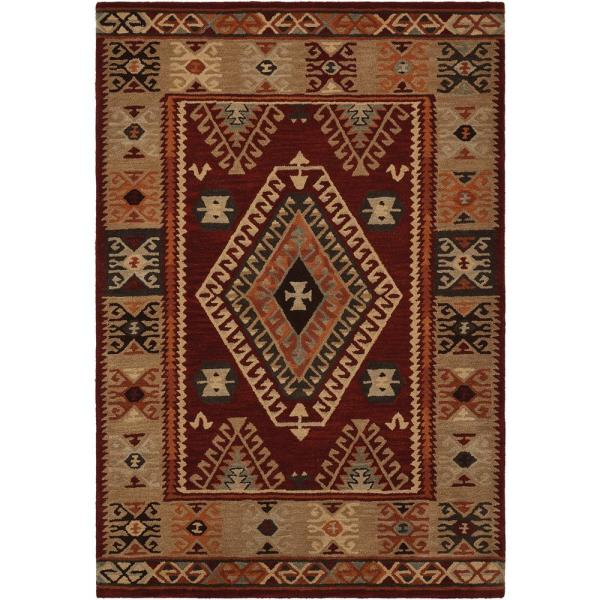 Oisin Red 5 ft. x 8 ft. Geometric Bohemian Area Rug